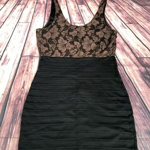 Express Black and Gold BodyCon Dress  Size Small